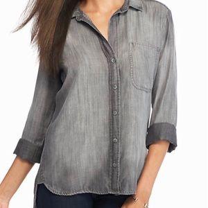 cloth & stone Women's Gray Button Down Shirt Sz L